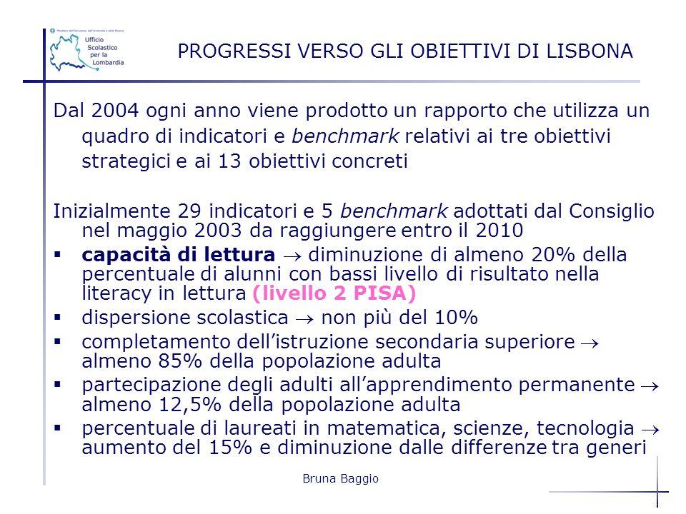 Bruna Baggio Dal 2004 ogni anno viene prodotto un rapporto che utilizza un quadro di indicatori e benchmark relativi ai tre obiettivi strategici e ai