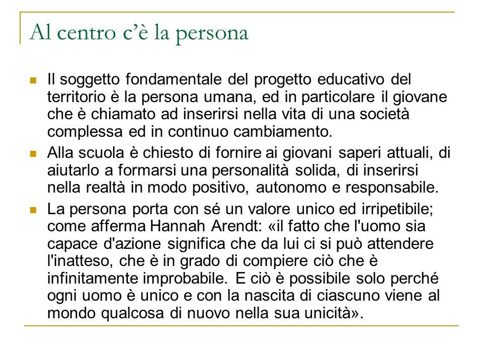 Al centro cè la persona Il soggetto fondamentale del progetto educativo del territorio è la persona umana, ed in particolare il giovane che è chiamato ad inserirsi nella vita di una società complessa ed in continuo cambiamento.