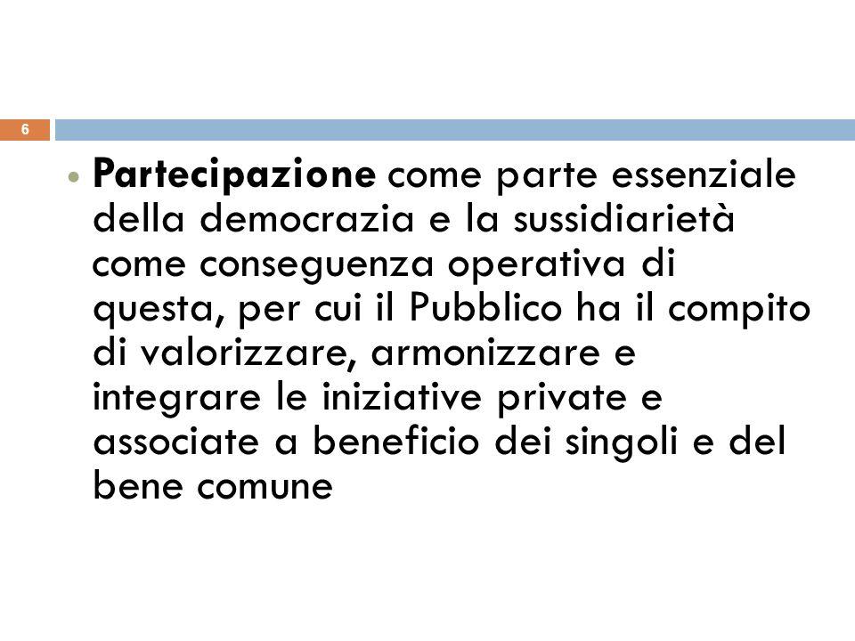 Partecipazione come parte essenziale della democrazia e la sussidiarietà come conseguenza operativa di questa, per cui il Pubblico ha il compito di va