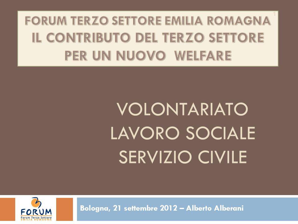 VOLONTARIATO LAVORO SOCIALE SERVIZIO CIVILE Bologna, 21 settembre 2012 – Alberto Alberani 1