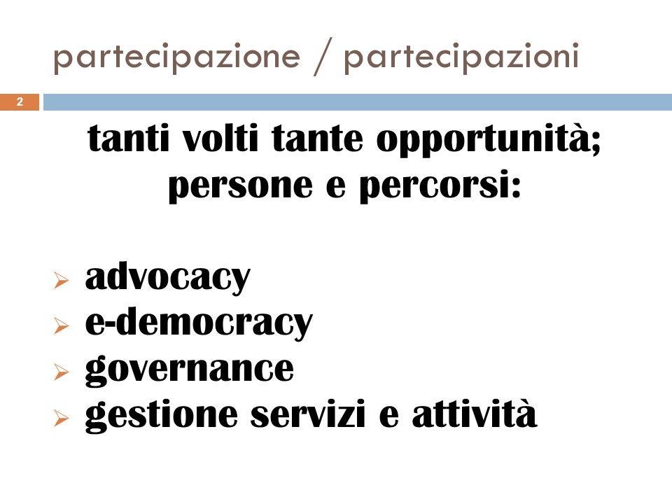 tanti volti tante opportunità; persone e percorsi: advocacy e-democracy governance gestione servizi e attività 2 partecipazione / partecipazioni