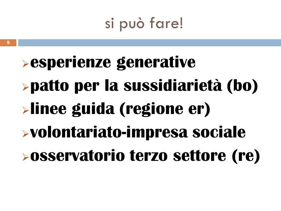 esperienze generative patto per la sussidiarietà (bo) linee guida (regione er) volontariato-impresa sociale osservatorio terzo settore (re) 9 si può f