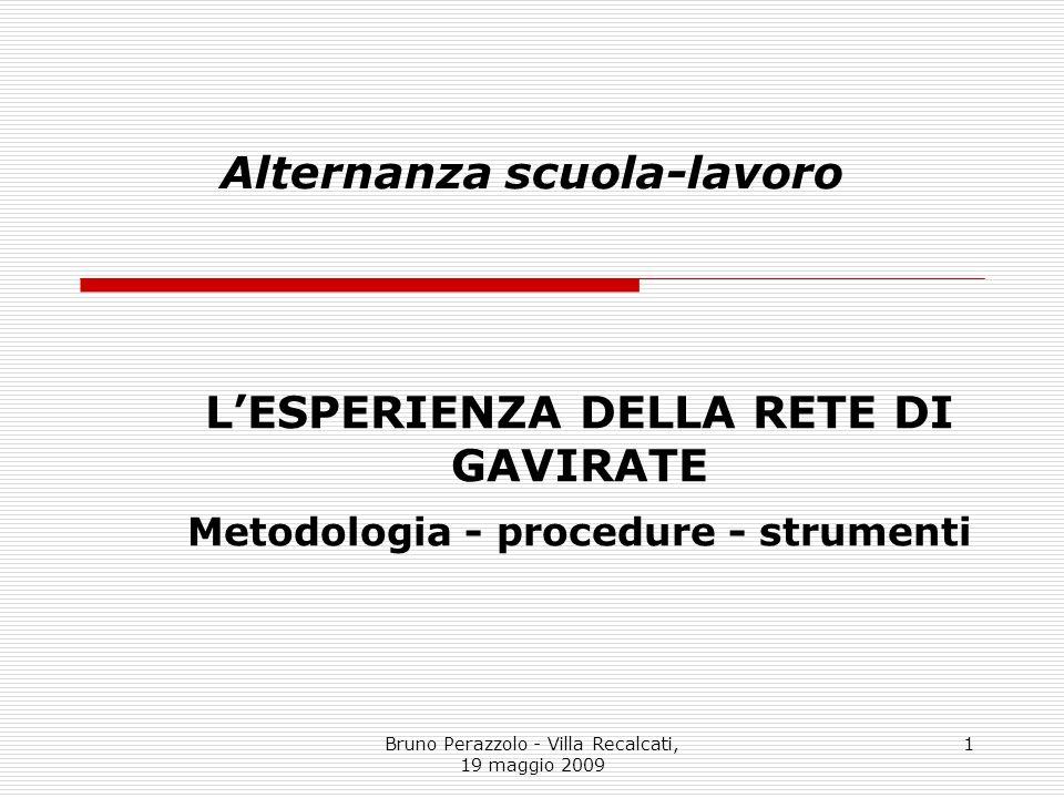 Bruno Perazzolo - Villa Recalcati, 19 maggio 2009 1 Alternanza scuola-lavoro LESPERIENZA DELLA RETE DI GAVIRATE Metodologia - procedure - strumenti