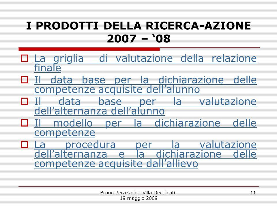 Bruno Perazzolo - Villa Recalcati, 19 maggio 2009 11 I PRODOTTI DELLA RICERCA-AZIONE 2007 – 08 La griglia di valutazione della relazione finale La gri