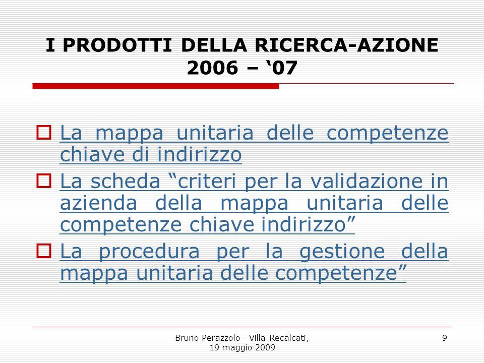Bruno Perazzolo - Villa Recalcati, 19 maggio 2009 9 I PRODOTTI DELLA RICERCA-AZIONE 2006 – 07 La mappa unitaria delle competenze chiave di indirizzo L