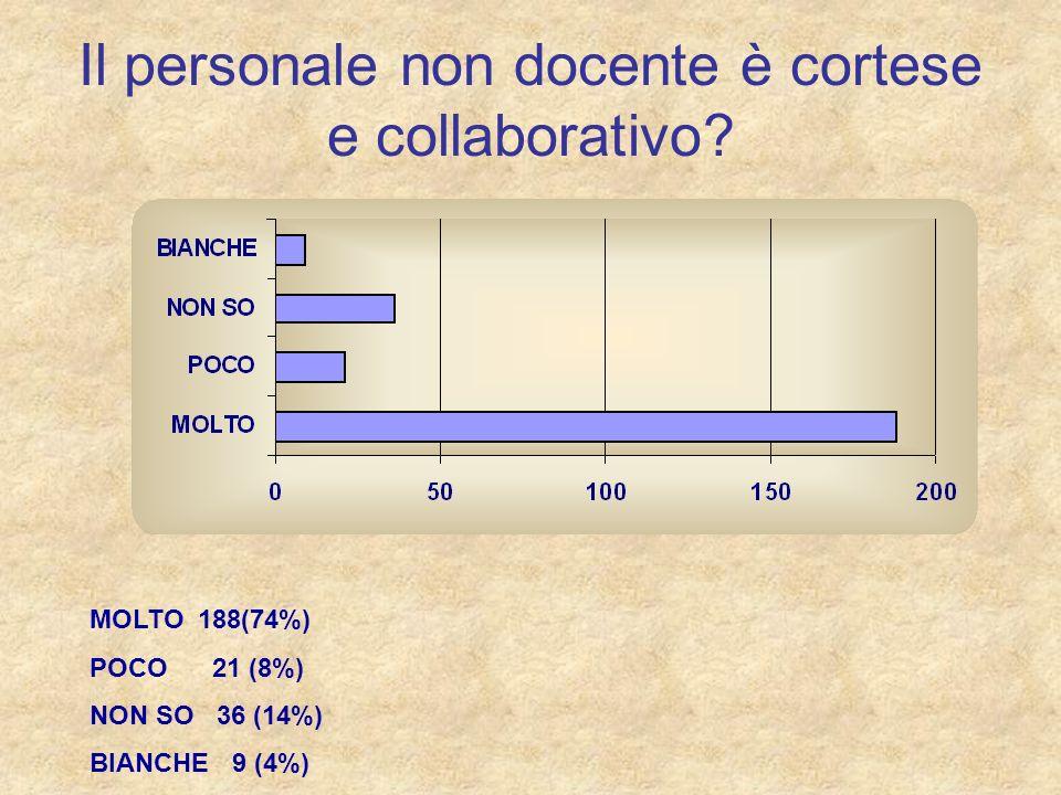 Il personale non docente è cortese e collaborativo? MOLTO 188(74%) POCO 21 (8%) NON SO 36 (14%) BIANCHE 9 (4%)
