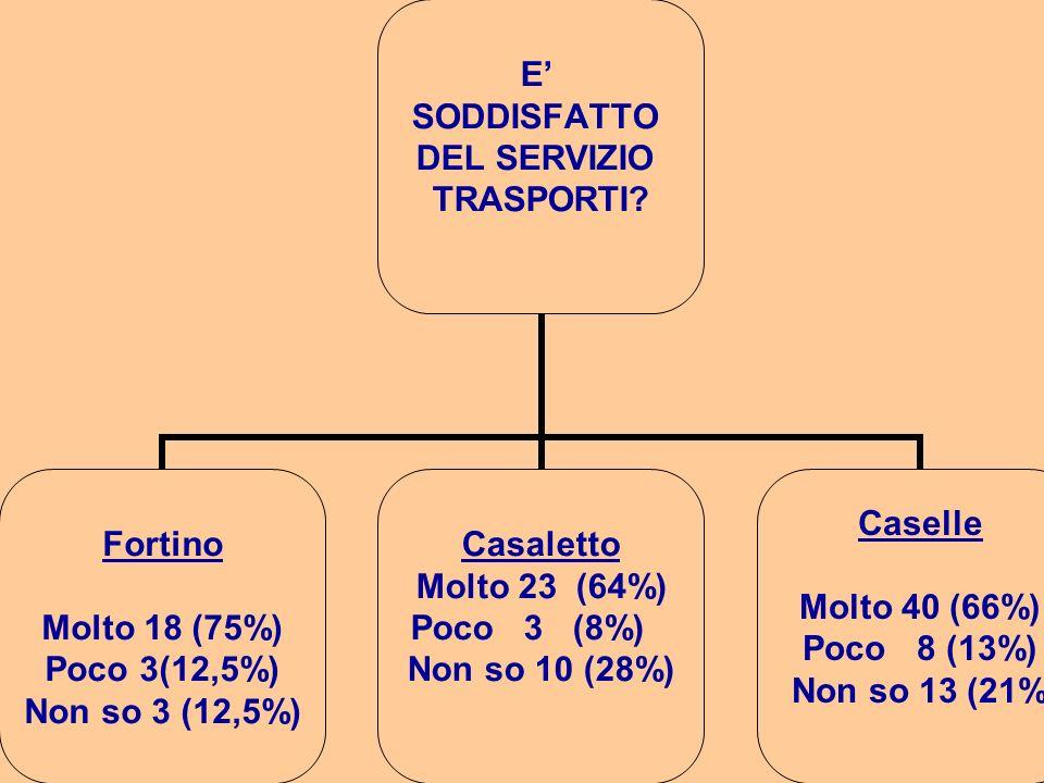 E SODDISFATTO DEL SERVIZIO TRASPORTI? Fortino Molto 18 (75%) Poco 3(12,5%) Non so 3 (12,5%) Casaletto Molto 23 (64%) Poco 3 (8%) Non so 10 (28%) Casel