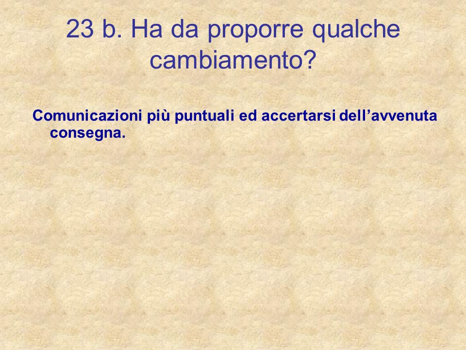 23 b. Ha da proporre qualche cambiamento? Comunicazioni più puntuali ed accertarsi dellavvenuta consegna.