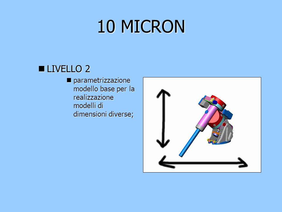 10 MICRON nLIVELLO 2 nparametrizzazione modello base per la realizzazione modelli di dimensioni diverse;