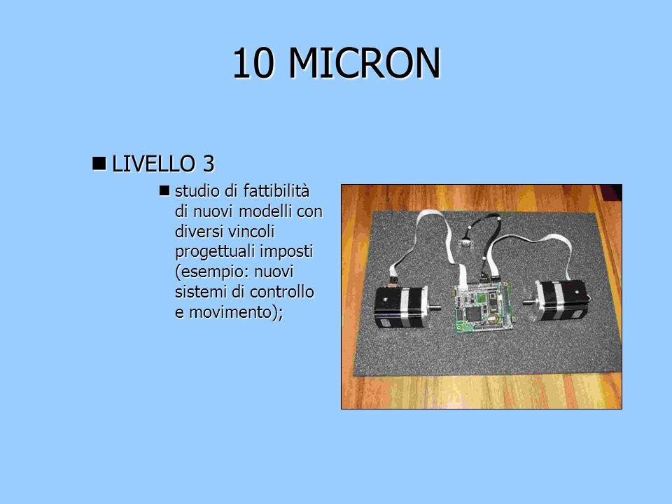 10 MICRON nLIVELLO 3 nstudio di fattibilità di nuovi modelli con diversi vincoli progettuali imposti (esempio: nuovi sistemi di controllo e movimento);