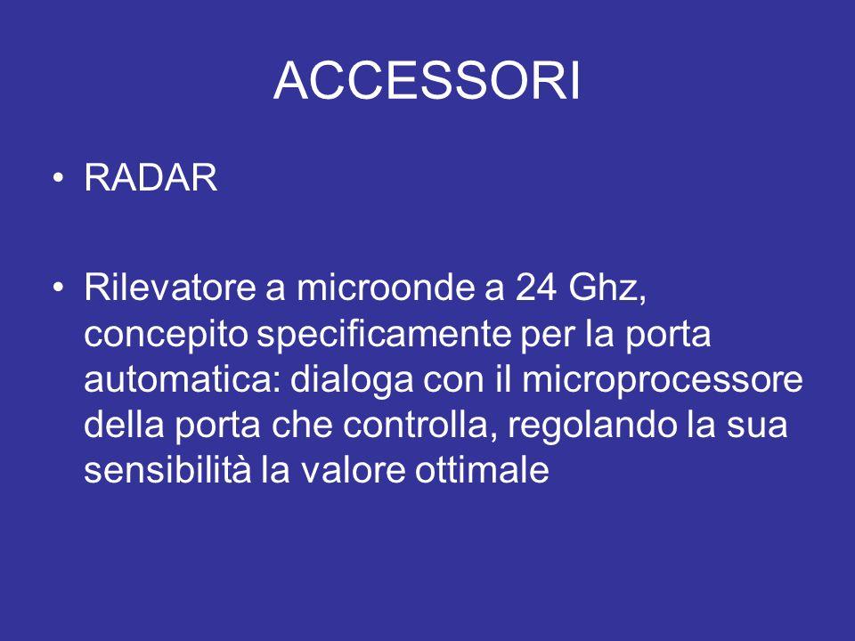 ACCESSORI RADAR Rilevatore a microonde a 24 Ghz, concepito specificamente per la porta automatica: dialoga con il microprocessore della porta che cont