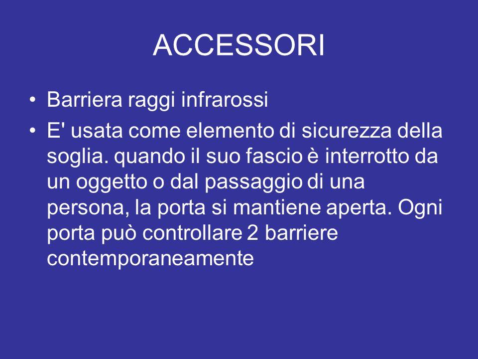 ACCESSORI Barriera raggi infrarossi E' usata come elemento di sicurezza della soglia. quando il suo fascio è interrotto da un oggetto o dal passaggio