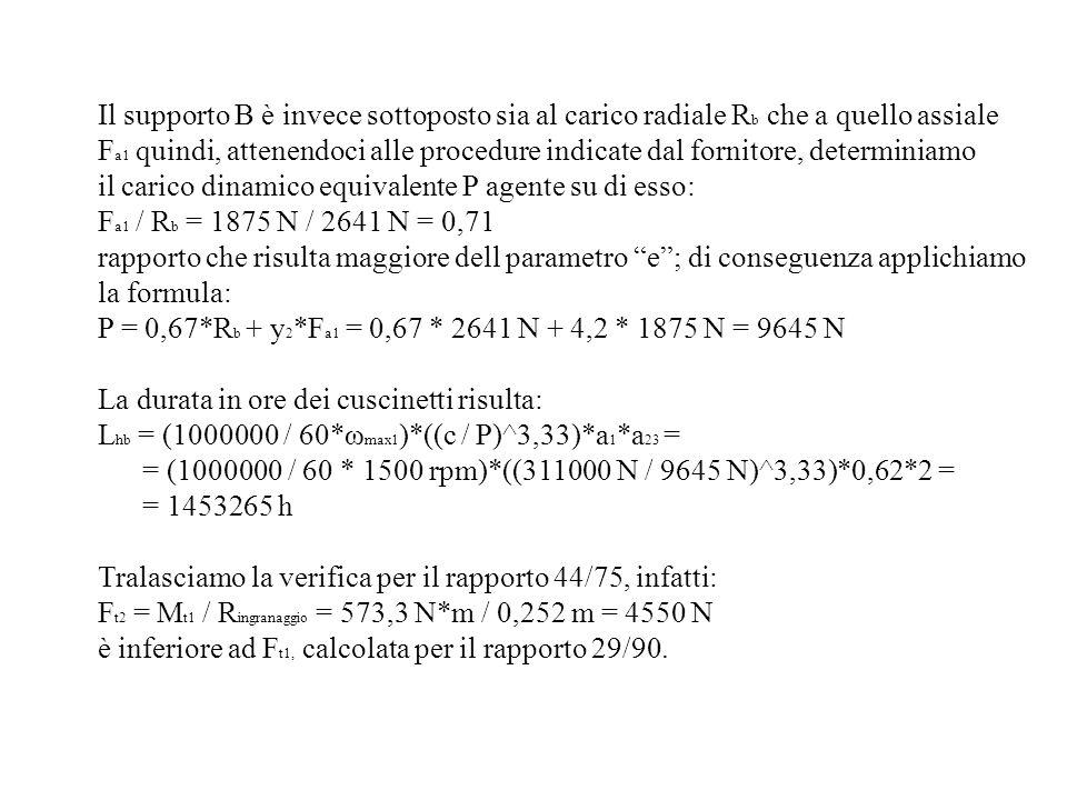 Il supporto B è invece sottoposto sia al carico radiale R b che a quello assiale F a1 quindi, attenendoci alle procedure indicate dal fornitore, deter