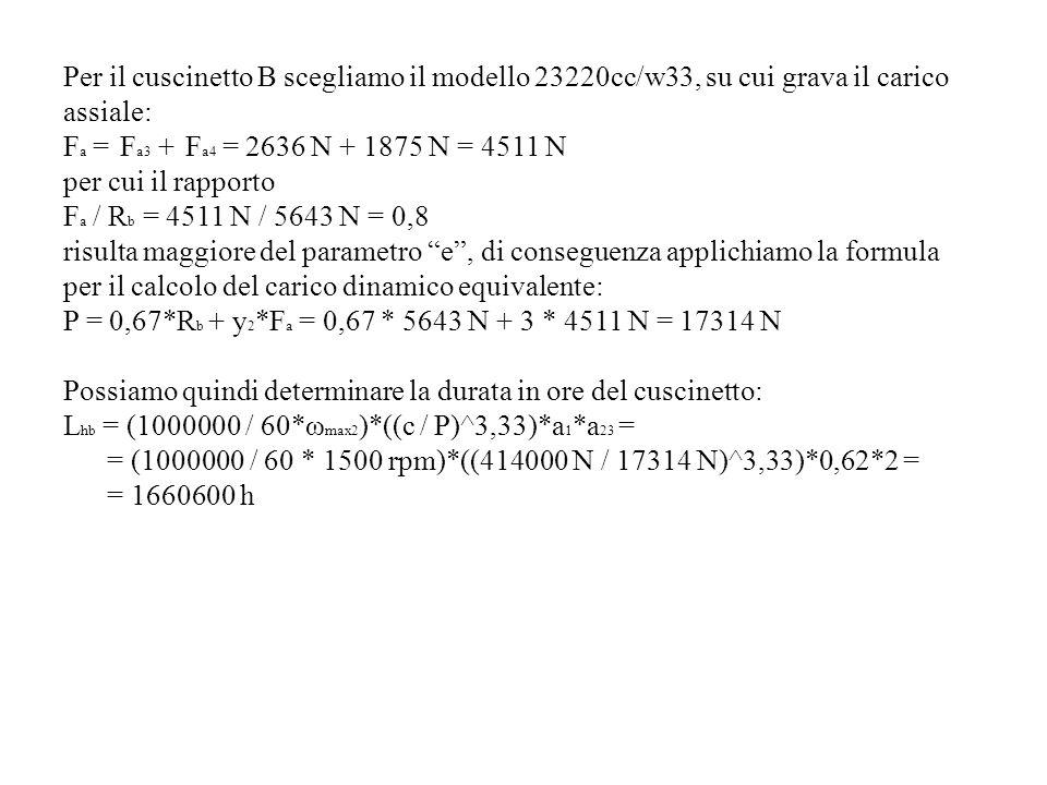 Per il cuscinetto B scegliamo il modello 23220cc/w33, su cui grava il carico assiale: F a = F a3 + F a4 = 2636 N + 1875 N = 4511 N per cui il rapporto