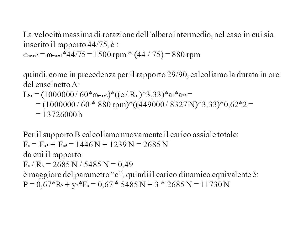 La velocità massima di rotazione dellalbero intermedio, nel caso in cui sia inserito il rapporto 44/75, è : ω max3 = ω max1 *44/75 = 1500 rpm * (44 /
