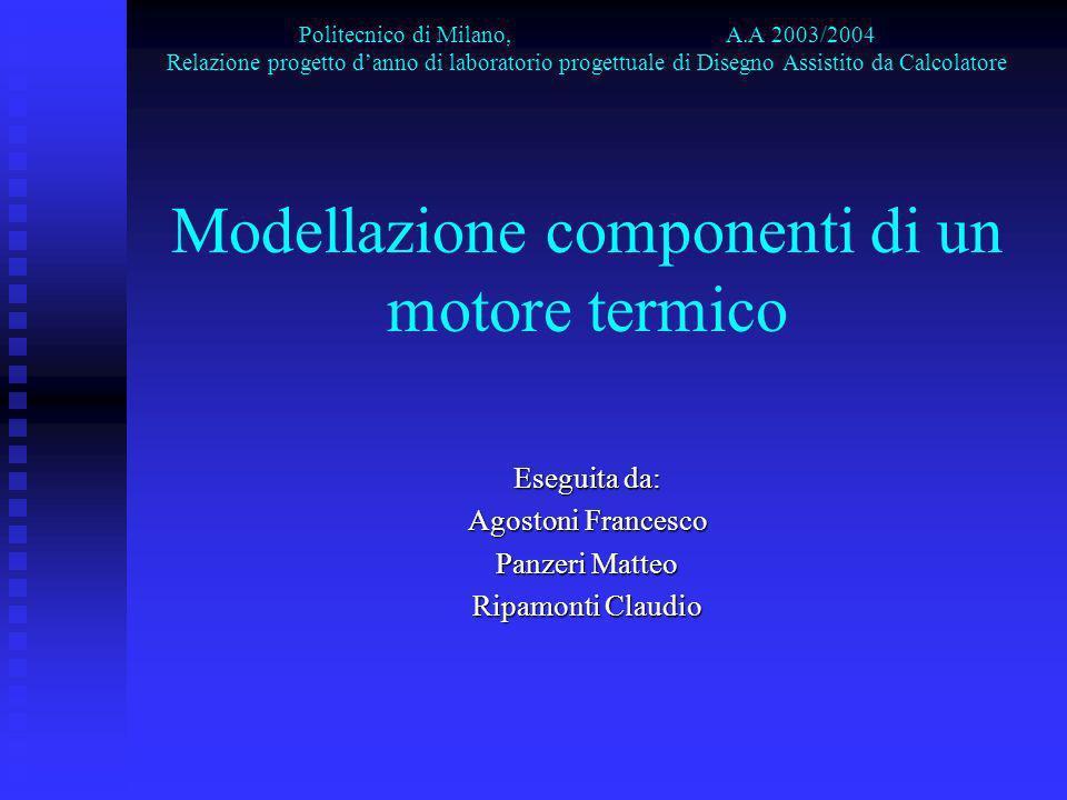 Politecnico di Milano, A.A 2003/2004 Relazione progetto danno di laboratorio progettuale di Disegno Assistito da Calcolatore Modellazione componenti d