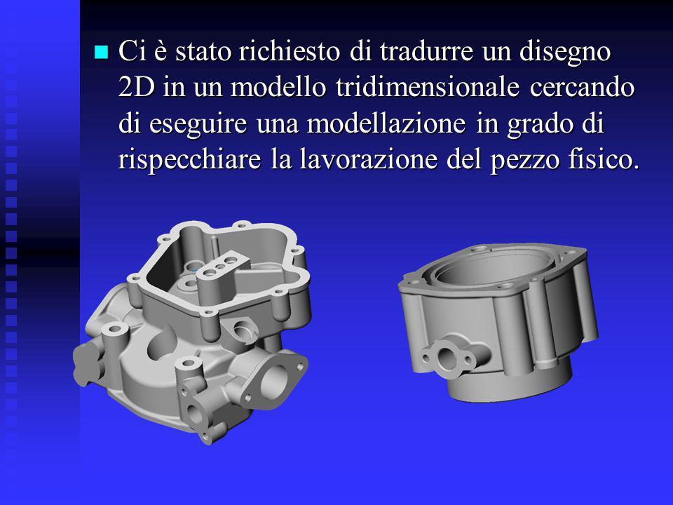 Ci sono stati forniti i disegni 2D dei seguenti componenti: Basamento posteriore Basamento posteriore Cilindro dx e sx Cilindro dx e sx Testata cilindro dx e sx Testata cilindro dx e sx Basamento anteriore Basamento anteriore