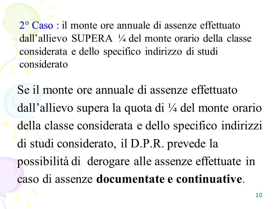 10 Se il monte ore annuale di assenze effettuato dallallievo supera la quota di ¼ del monte orario della classe considerata e dello specifico indirizz