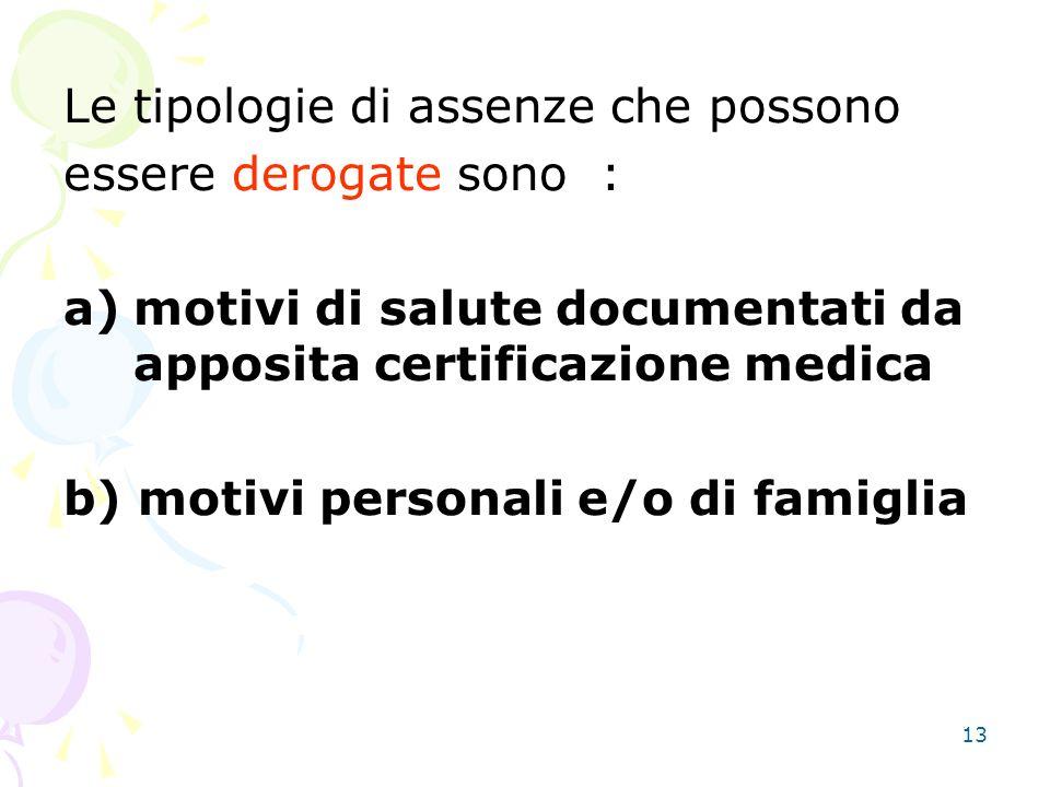13 Le tipologie di assenze che possono essere derogate sono : a)motivi di salute documentati da apposita certificazione medica b) motivi personali e/o