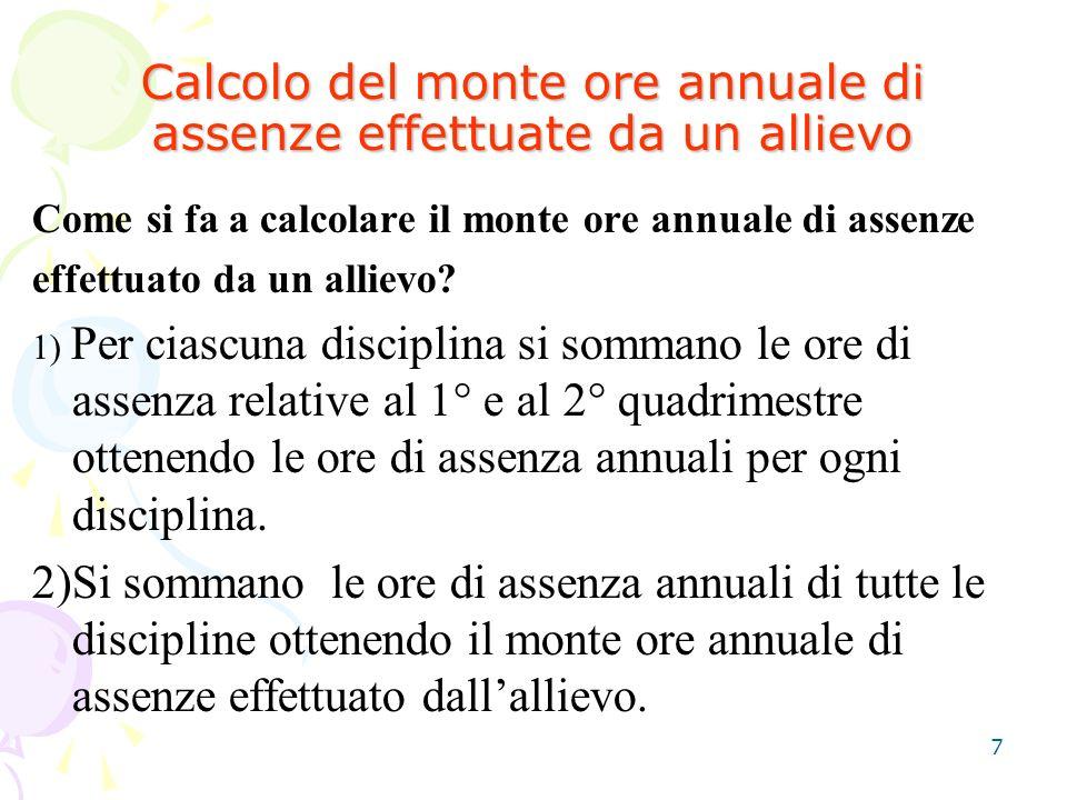 7 Calcolo del monte ore annuale di assenze effettuate da un allievo Come si fa a calcolare il monte ore annuale di assenze effettuato da un allievo? 1