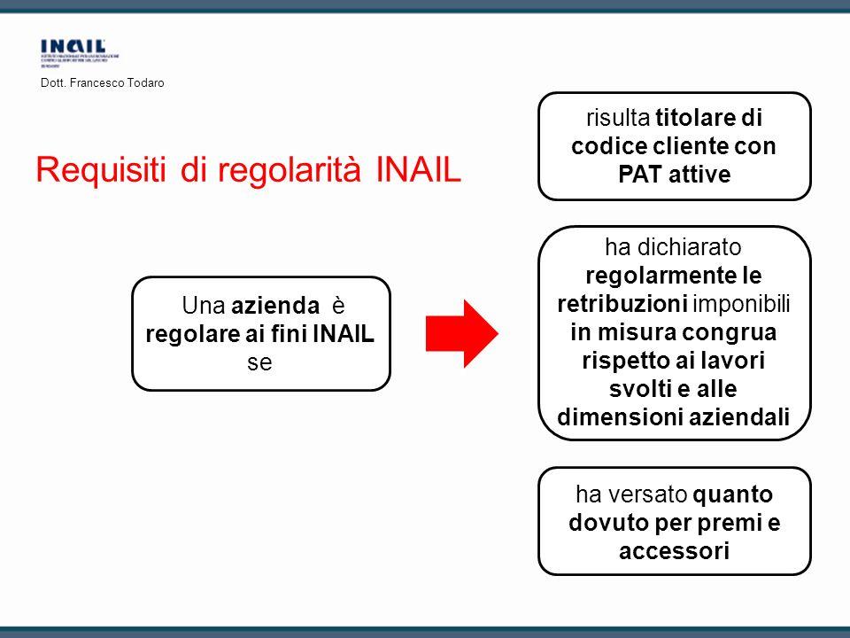 Requisiti di regolarità INAIL Una azienda è regolare ai fini INAIL se risulta titolare di codice cliente con PAT attive ha versato quanto dovuto per p