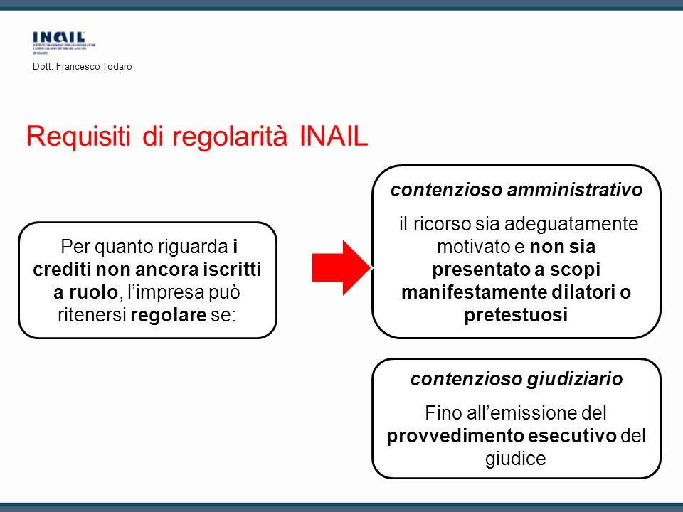 Requisiti di regolarità INAIL Per quanto riguarda i crediti non ancora iscritti a ruolo, limpresa può ritenersi regolare se: contenzioso giudiziario F