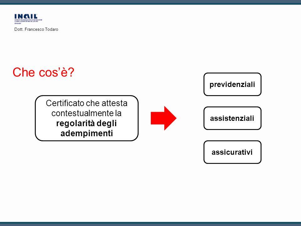 Che cosè? Certificato che attesta contestualmente la regolarità degli adempimenti previdenziali assicurativi assistenziali Dott. Francesco Todaro
