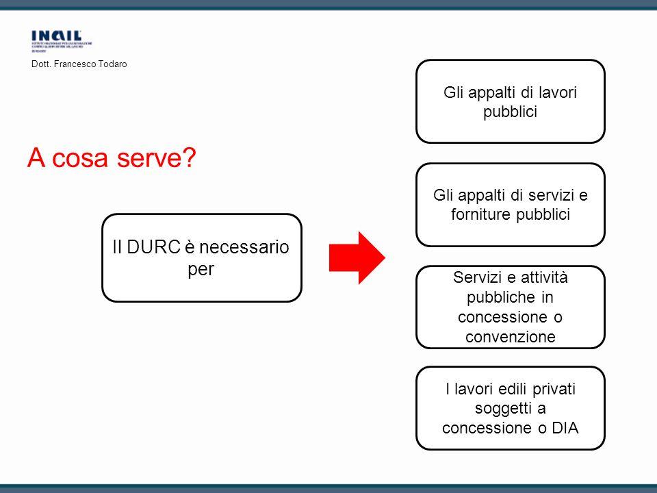 A cosa serve? Il DURC è necessario per Gli appalti di servizi e forniture pubblici I lavori edili privati soggetti a concessione o DIA Servizi e attiv