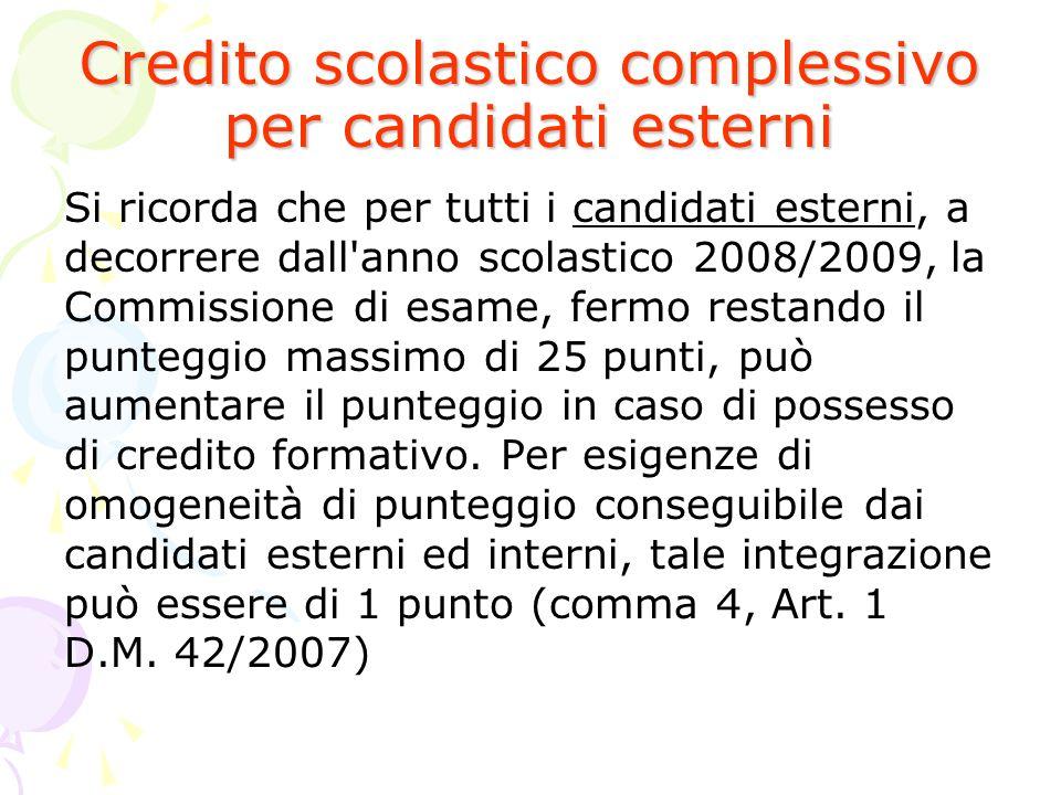 Credito scolastico complessivo per candidati esterni Si ricorda che per tutti i candidati esterni, a decorrere dall'anno scolastico 2008/2009, la Comm