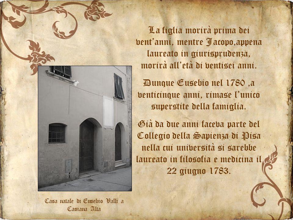 La figlia morirà prima dei ventanni, mentre Jacopo,appena laureato in giurisprudenza, morirà alletà di ventisei anni.