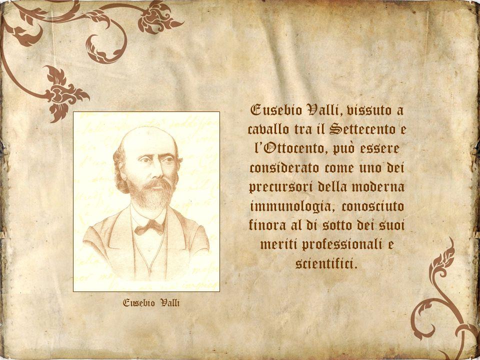 Eusebio Valli, vissuto a cavallo tra il Settecento e lOttocento, può essere considerato come uno dei precursori della moderna immunologia, conosciuto finora al di sotto dei suoi meriti professionali e scientifici.