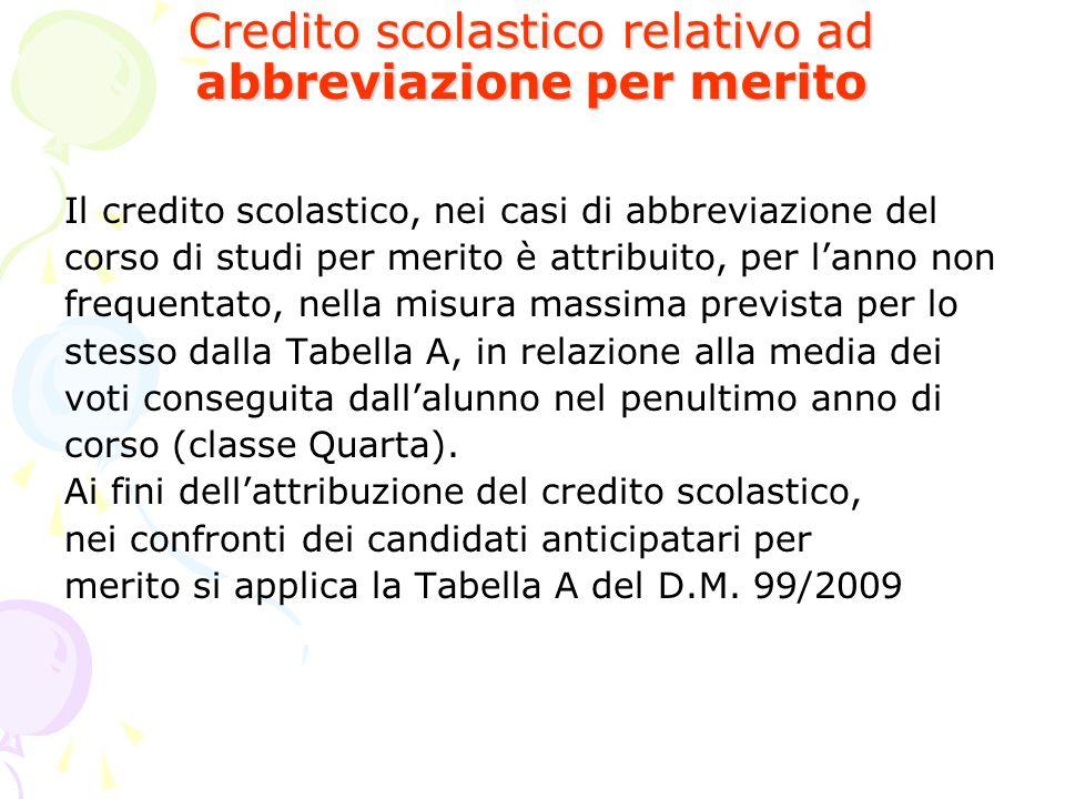 Credito scolastico relativo ad abbreviazione per merito Il credito scolastico, nei casi di abbreviazione del corso di studi per merito è attribuito, p