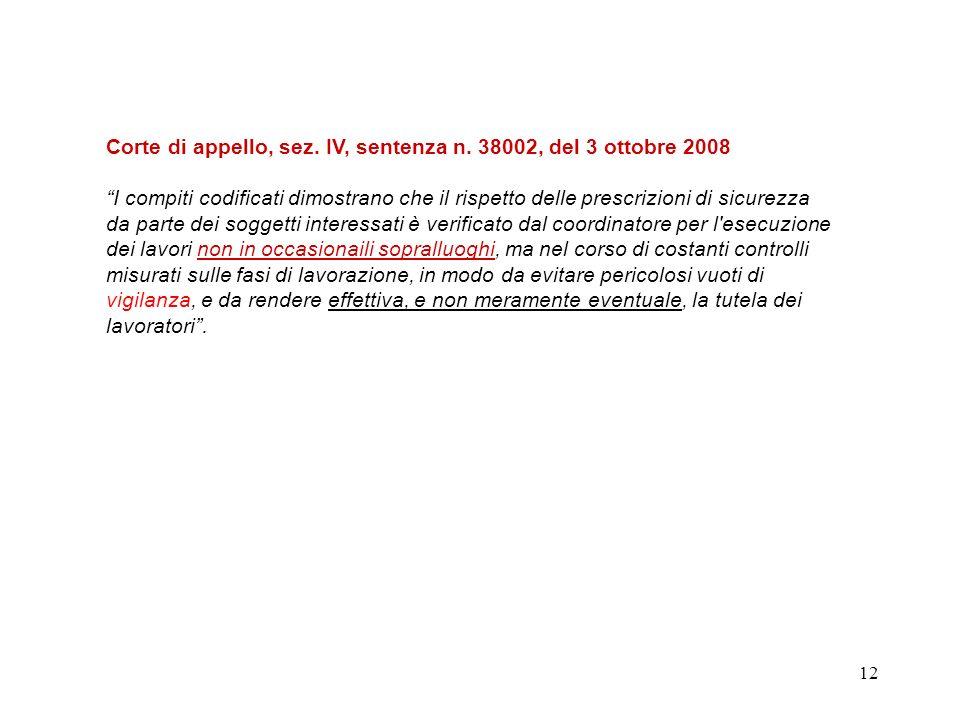 11 Cassazione IV sezione penale sentenza n.17631 del 24 aprile 2009.... il coordinatore per l'esecuzione ha una posizione di garanzia di ampio contenu