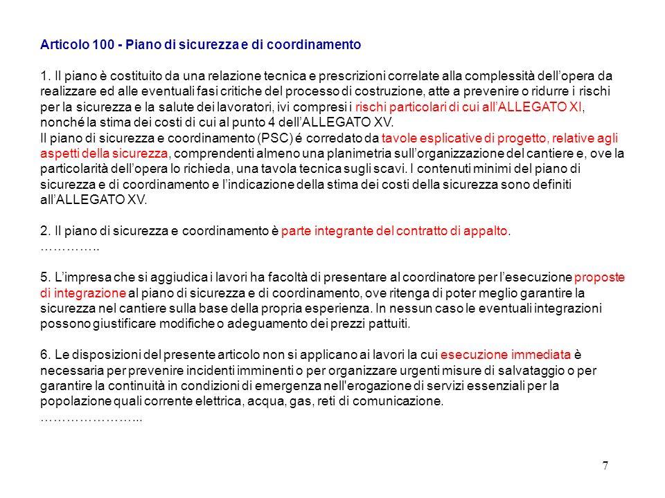 6 Articolo 91 - Obblighi del coordinatore per la progettazione 1.