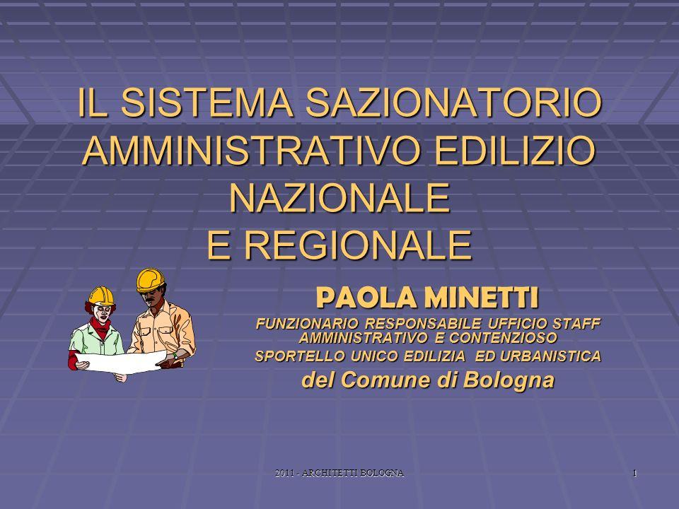 2011 - ARCHITETTI BOLOGNA1 IL SISTEMA SAZIONATORIO AMMINISTRATIVO EDILIZIO NAZIONALE E REGIONALE PAOLA MINETTI FUNZIONARIO RESPONSABILE UFFICIO STAFF AMMINISTRATIVO E CONTENZIOSO SPORTELLO UNICO EDILIZIA ED URBANISTICA del Comune di Bologna