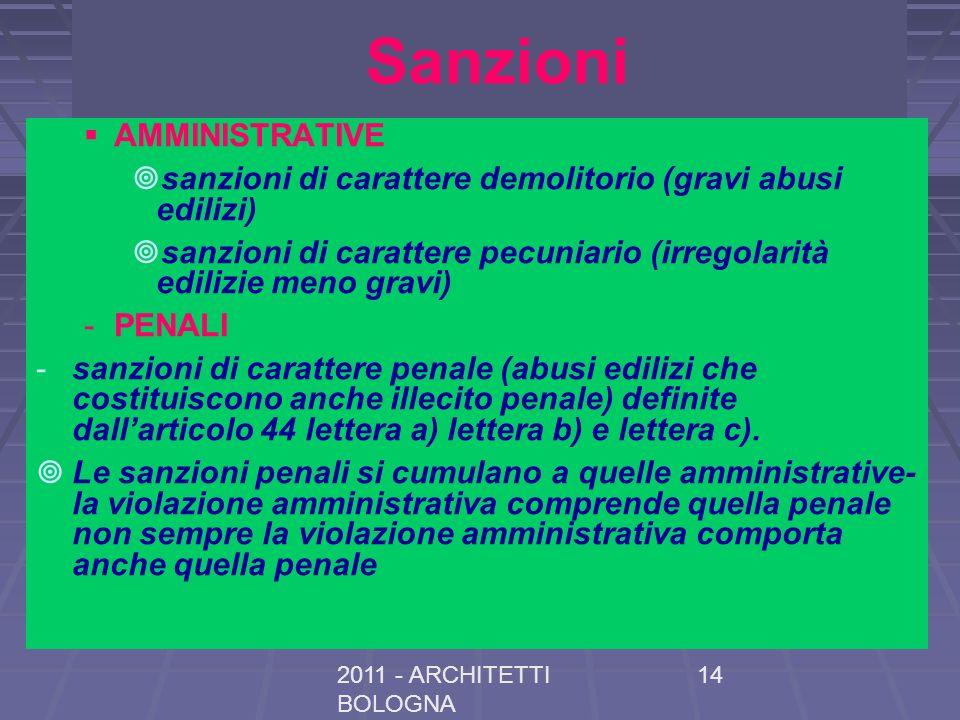 2011 - ARCHITETTI BOLOGNA 14 Sanzioni AMMINISTRATIVE sanzioni di carattere demolitorio (gravi abusi edilizi) sanzioni di carattere pecuniario (irregol