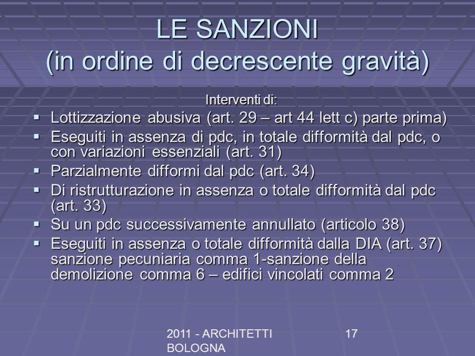 2011 - ARCHITETTI BOLOGNA 17 LE SANZIONI (in ordine di decrescente gravità) Interventi di: Lottizzazione abusiva (art. 29 – art 44 lett c) parte prima