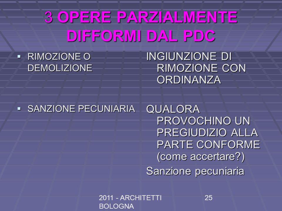 2011 - ARCHITETTI BOLOGNA 25 3 OPERE PARZIALMENTE DIFFORMI DAL PDC RIMOZIONE O DEMOLIZIONE RIMOZIONE O DEMOLIZIONE SANZIONE PECUNIARIA SANZIONE PECUNIARIA INGIUNZIONE DI RIMOZIONE CON ORDINANZA QUALORA PROVOCHINO UN PREGIUDIZIO ALLA PARTE CONFORME (come accertare?) Sanzione pecuniaria