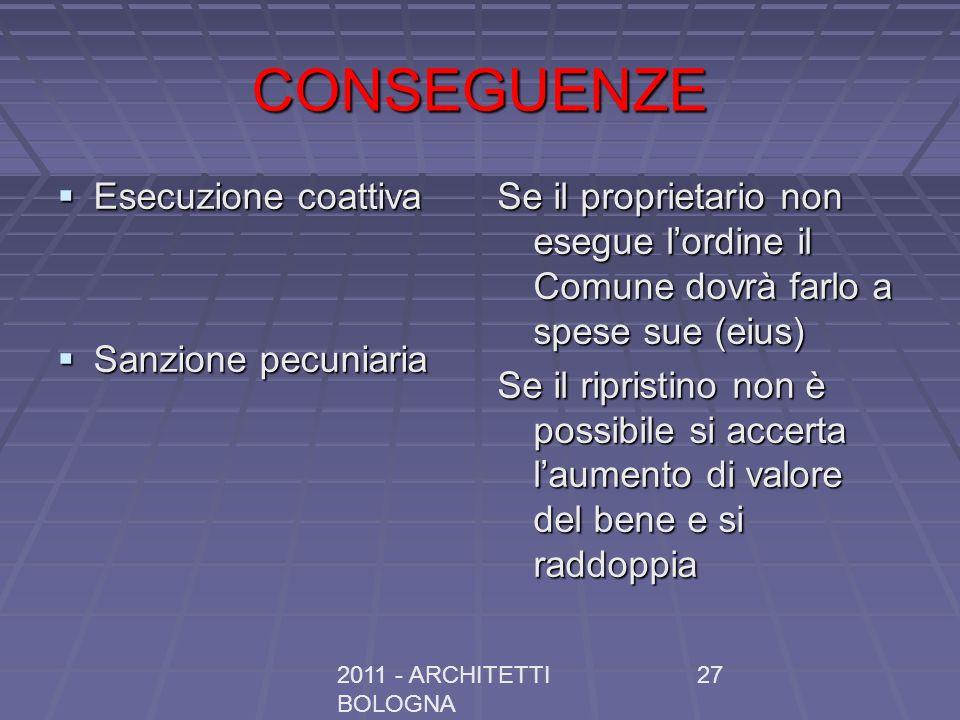 2011 - ARCHITETTI BOLOGNA 27 CONSEGUENZE Esecuzione coattiva Esecuzione coattiva Sanzione pecuniaria Sanzione pecuniaria Se il proprietario non esegue