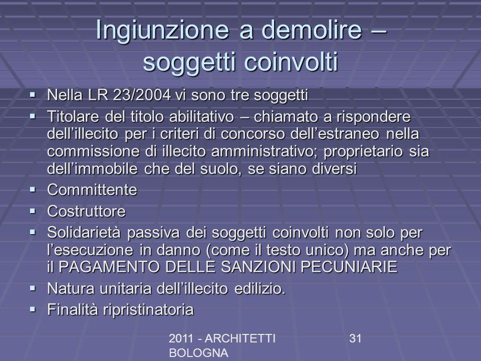 2011 - ARCHITETTI BOLOGNA 31 Ingiunzione a demolire – soggetti coinvolti Nella LR 23/2004 vi sono tre soggetti Nella LR 23/2004 vi sono tre soggetti T