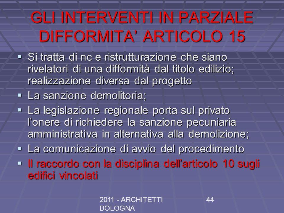 2011 - ARCHITETTI BOLOGNA 44 GLI INTERVENTI IN PARZIALE DIFFORMITA ARTICOLO 15 Si tratta di nc e ristrutturazione che siano rivelatori di una difformi