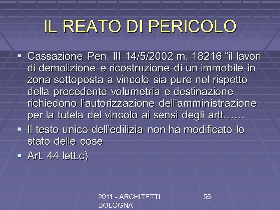 2011 - ARCHITETTI BOLOGNA 55 IL REATO DI PERICOLO Cassazione Pen. III 14/5/2002 m. 18216 il lavori di demolizione e ricostruzione di un immobile in zo