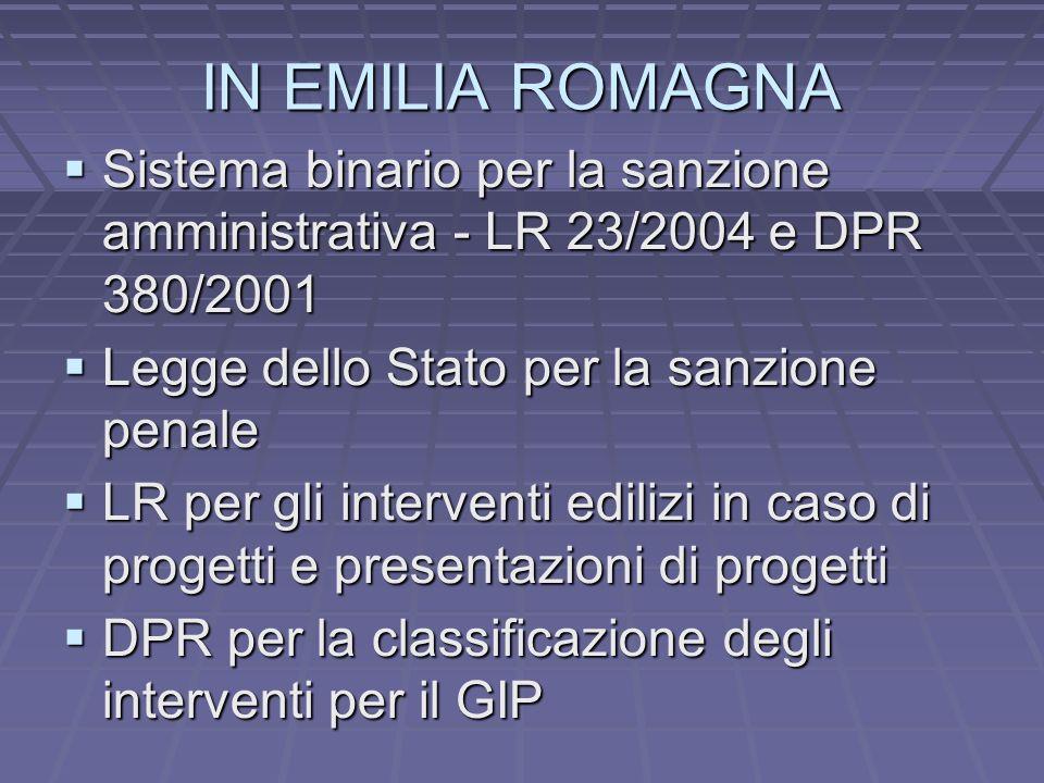 IN EMILIA ROMAGNA Sistema binario per la sanzione amministrativa - LR 23/2004 e DPR 380/2001 Sistema binario per la sanzione amministrativa - LR 23/20