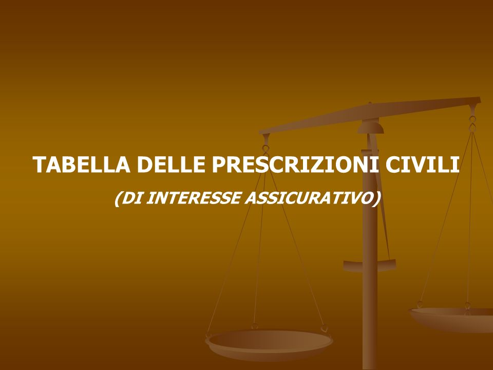 TABELLA DELLE PRESCRIZIONI CIVILI (DI INTERESSE ASSICURATIVO)