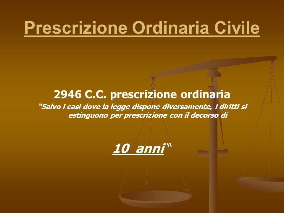 Prescrizione Ordinaria Civile 2946 C.C.