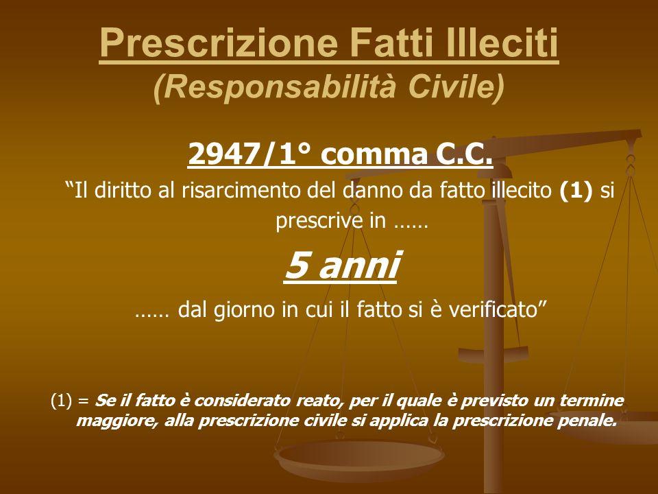 Prescrizione Fatti Illeciti (Responsabilità Civile) 2947/1° comma C.C.
