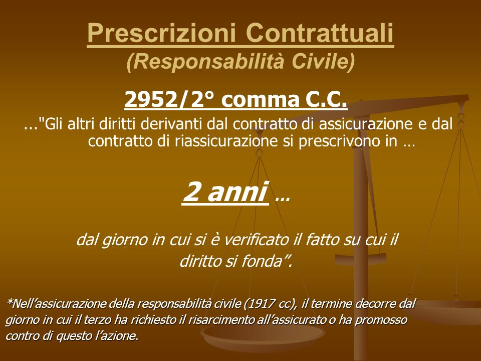 Prescrizioni Contrattuali (Responsabilità Civile) 2952/2° comma C.C.... Gli altri diritti derivanti dal contratto di assicurazione e dal contratto di riassicurazione si prescrivono in … 2 anni … dal giorno in cui si è verificato il fatto su cui il diritto si fonda.