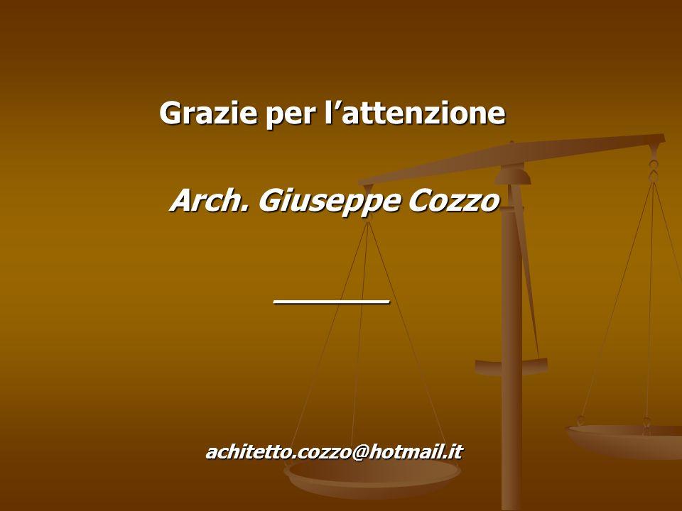 Grazie per lattenzione Arch. Giuseppe Cozzo ______achitetto.cozzo@hotmail.it