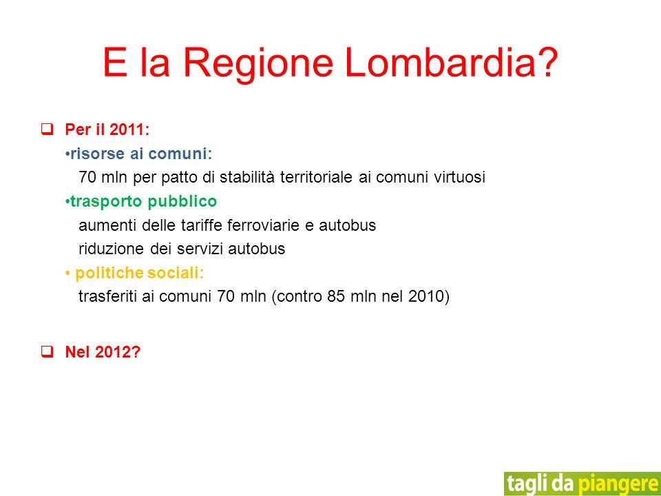 Per il 2011: risorse ai comuni: 70 mln per patto di stabilità territoriale ai comuni virtuosi trasporto pubblico aumenti delle tariffe ferroviarie e a