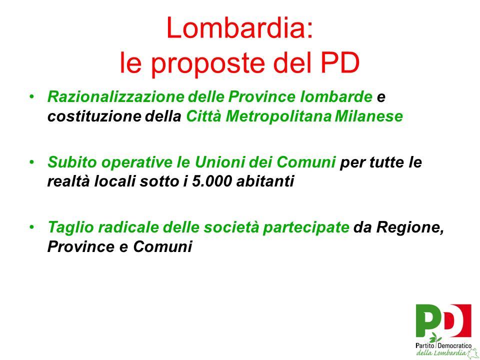Razionalizzazione delle Province lombarde e costituzione della Città Metropolitana Milanese Subito operative le Unioni dei Comuni per tutte le realtà